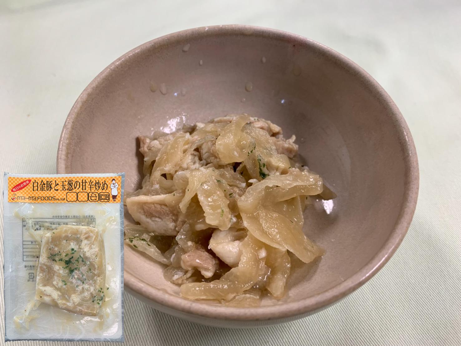 白金豚と玉葱の甘辛炒め